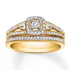 yellow gold bridal sets diamond bridal set 1 5 carat tw 10k yellow gold
