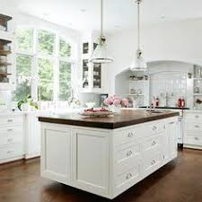 I Love This White With Dark Floor And Dark Butcher Block Counter - White kitchen cabinets with butcher block countertops
