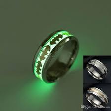 batman wedding band batman ring stainless steel fluorescent glowing light finger rings