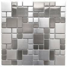 stainless steel mosaic tile backsplash modern cobble pattern stainless steel mosaic tile contemporary