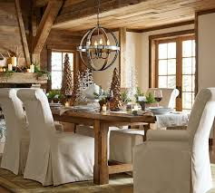rustic dining table design with pottery barn extending kitchen