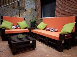 15 Unique Pallet Picnic Table 101 Pallets by Black Stained Pallet Sofa With Orange Cushion Pallet Ideas
