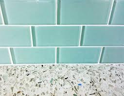 recycled glass backsplashes for kitchens turquoise glass subway tile backsplash with recycled glass
