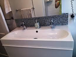 Bathroom Sink Backsplash Ideas Trough Bathroom Sink With Two Faucets Design Ideas Double Trough