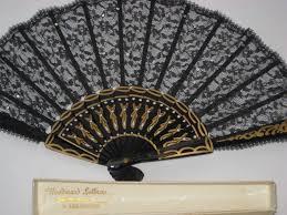 black lace fan beautiful antique black lace fan w sewn sequins in original