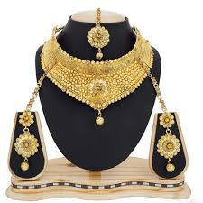 wedding jewelry necklace sets images Exclusive bridal jewelry online golden color necklace set lady india jpg