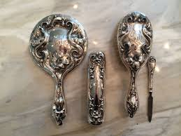 Antique Vanity Set R Wallace Sons Sterling Silver Vanity Set Art Nouveau Brush Mirror