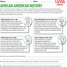 famous african americans activity sheets for children black