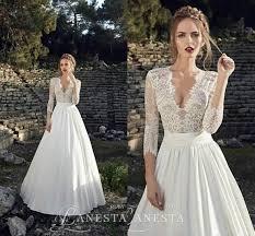 Wedding Dresses Cheap Online Elegant 2016 A Line Wedding Dresses Sheer V Neck With 3 4 Long
