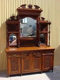 antique oak hutch highboy cabinet sideboard buffet w drawers