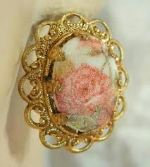 50s earrings w germany signed vintage 50 s ornate sugar flower cameo clip