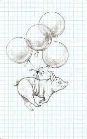 drawn balloon pig pencil and in color drawn balloon pig