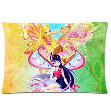 winx club pretty cartoon pillow cover comfortable peach skin