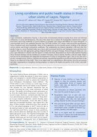 living conditions and public health status in three urban slums of