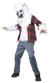 halloween costume in party city white werewolf scary kids costume mr costumes