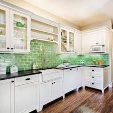 Green Subway Tile Backsplash In White Kitchen Ecofriendly - Tile kitchen backsplash