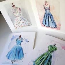 watercolor notecards vintage dress fashion cards watercolor note cards ed 2 set