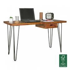 Schreibtisch Schwarz Holz Finebuy Schreibtisch Haora Braun 130 X 60 X 76 Cm Massiv Holz