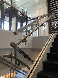 Stainless Steel Handrail Designs Commercial Staircase With Glass Railings In Miami Design District