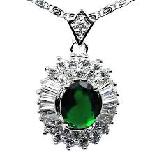 emerald green fashion necklace images Women green stone halo cluster pendants costume jewellery necklaces uk jpg