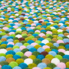 Teal And Green Rug Pom Pom Round Mixed Green Rug Products From Boutique Camping Uk