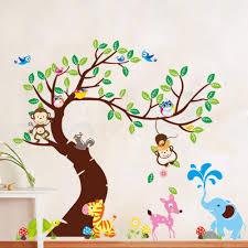 momkey owl elephant bird zebra zoo wall stickers for kids rooms