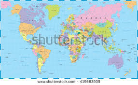 clear world map with country names colored world map borders countries cities stock vector 389057533
