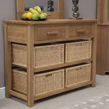 Storage Console Table by Furniture Oak Console Table With Storage Baskets Also Eton Solid