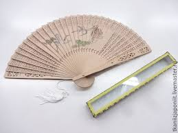 sandalwood fan a japanese fan made of sandalwood with a picture shop online on