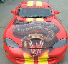 dodge viper snake dodge viper with airbrushed snake orange car photography