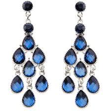 blue chandelier earrings delicate blue diamante chandelier earrings polyvore