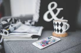Gambar Smartphone apel kopi teknologi putih cangkir