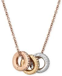 multi pendant necklace images Michael kors tri tone pav multi pendant necklace fashion tif
