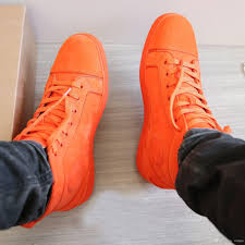 super quality orange suede leather sneakers shoes red bottom women