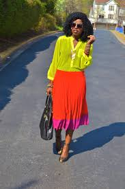 neon blouse style pantry neon chiffon blouse color block pleated skirt