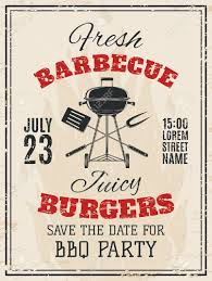 vintage barbecue party invitation bbq food flyer template vector