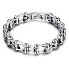 stainless steel chain bracelet images Silver black stainless steel motorcycle bike chain bracelet for jpg