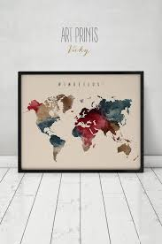 World Map Poster Large 107 Best Watercolor Maps Images On Pinterest Map Posters