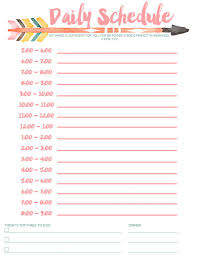 printable daily schedule schedule free printable