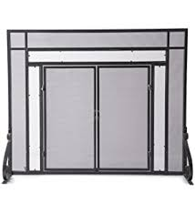 Free Standing Fireplace Screens by Amazon Com Plow U0026 Hearth Large Fireplace Screen With Hinged