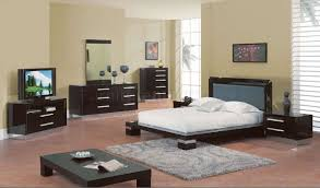 Wenge Bedroom Furniture 6pc Wenge High Gloss Finish Modern Bedroom Set W Silver Accents