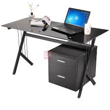 Metal And Glass Computer Desk Alluring Glass Computer Desk With Drawers Deluxe Glass Top