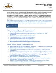 lessons learned report template sdlcforms lessons learned template