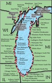 map of michigan lakes lake michigan lighthouse map