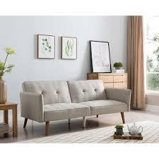 Linen Sleeper Sofa Halmstad 77 Inch Beige Linen Tufted Futon Sleeper Sofa Free