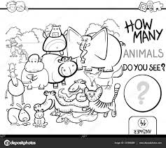 counting coloring pages count the animals for coloring u2014 stock vector izakowski 131568288