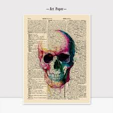 Paper Hanging L Watercolor Skull Wall Hanging Gift For Children Newspaper Wall