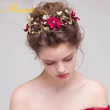 butterfly hair 2017 vintage women wine flower headband handmade simulated