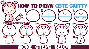how to draw cute kawaii chibi skitty from pokemon in easy step