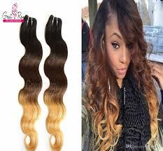 dyed weave hairstyles three tone 1b 4 27 ombre dip dye hair brazilian virgin human hair